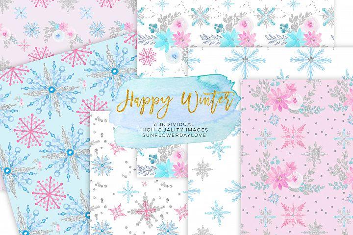 Winter Digital Paper, Winter Paper Pad, Glitter Pattern