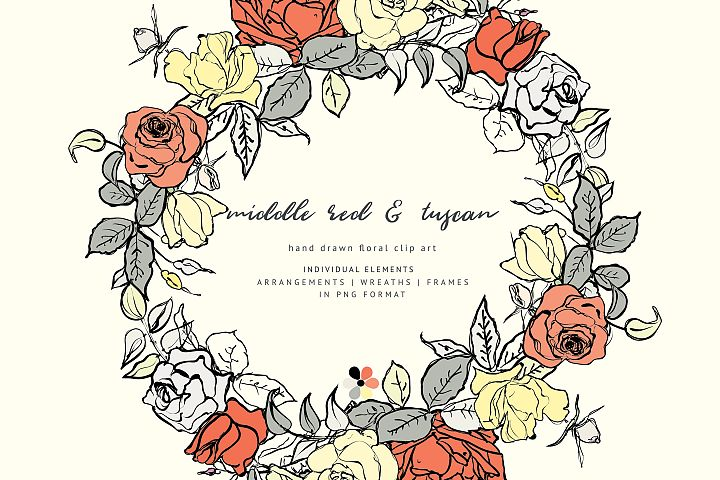 Hand Sketched Floral Clipart Collection
