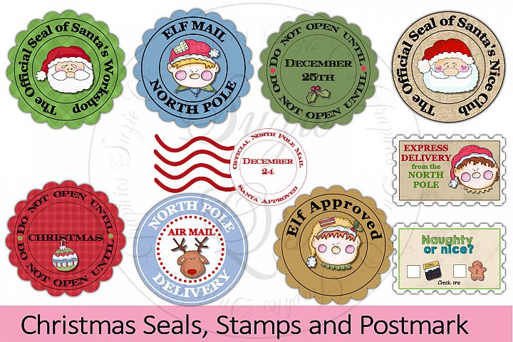 Christmas Seals, Stamps and Postmark - PNG only