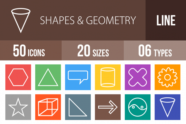 50 Shapes & Geometry Line Multicolor B/G Icons