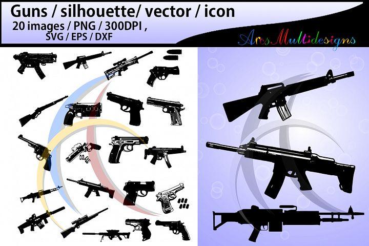 gun silhouette svg / guns / gun clipart / nerf guns / nerf gun clipart / silhouette / High Quality / svg format / EPS / PNG / SVG / DXf - vector