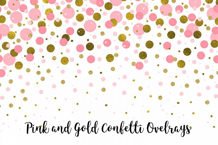 Pink and Gold Confetti Overlays, Transparent PNGs