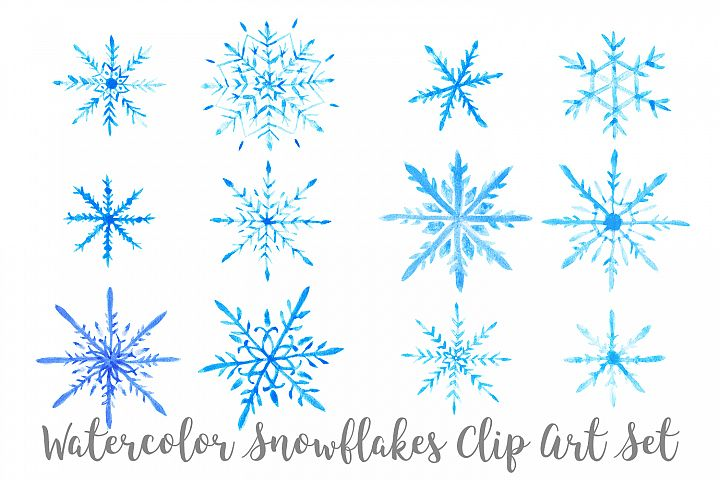 Watercolor Snowflakes Clip Art, Transparent PNG