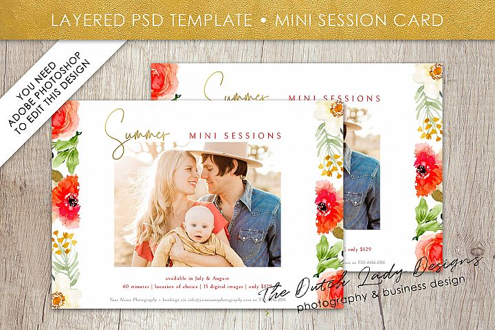 PSD Summer Photo Session Card Template - Design #43