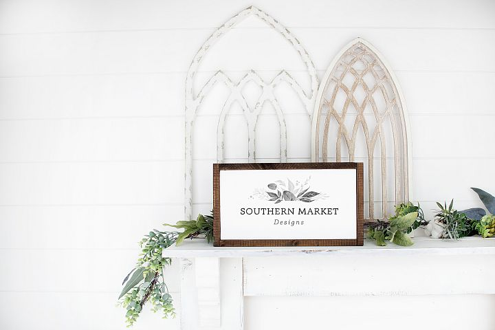 8x14 Framed Wood Sign Mock Up Farmhouse Styled Photo