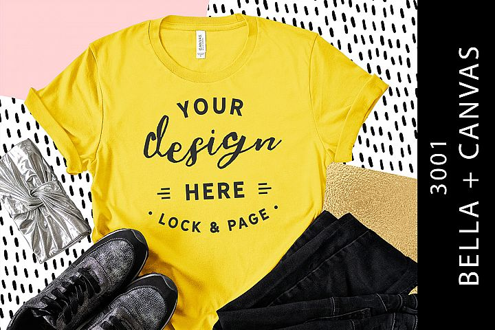 Yellow Bella Canvas 3001 Mockup Womens T-Shirt