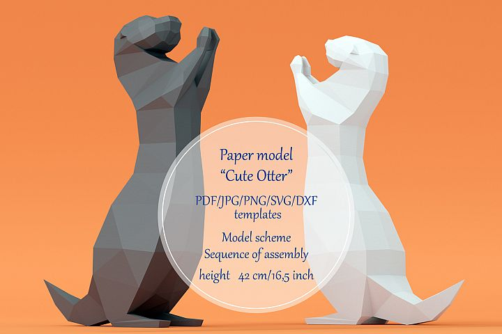 Paper model Cute Otter. Printable papercutting templates.