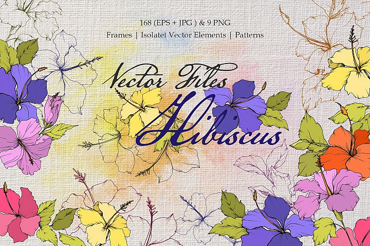Hibiscus Vector Files yellow and purple
