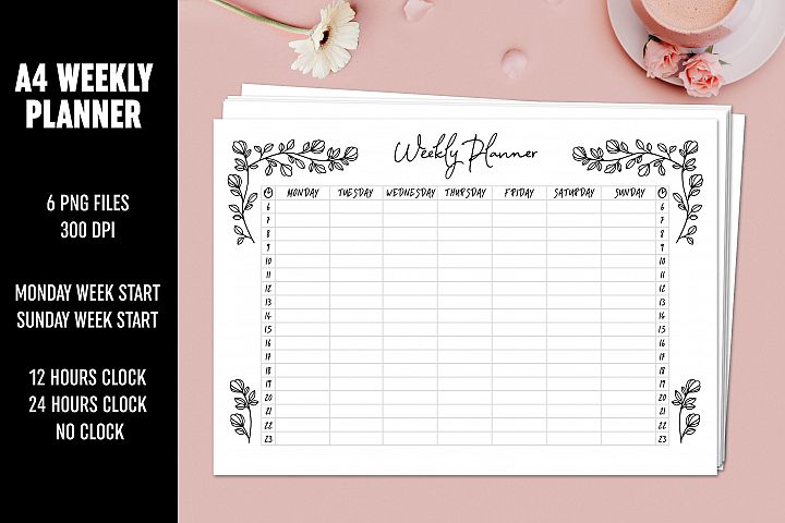 Weekly Planner Floral A4 Minimalistic