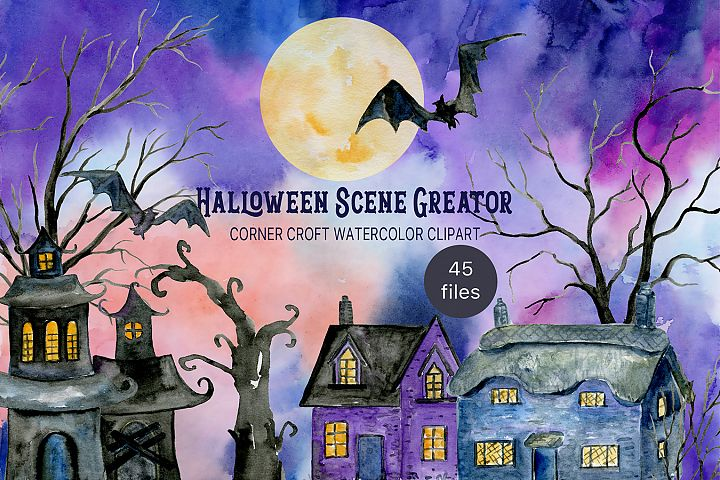 Watercolor Halloween Scene Creator with haunted buildings