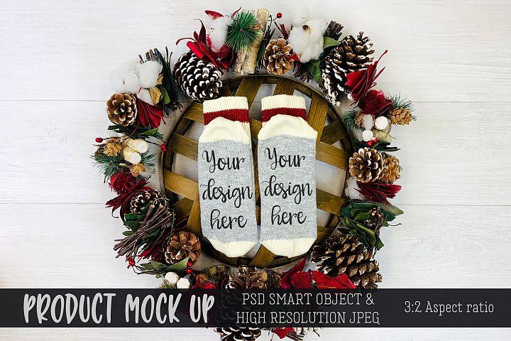 Christmas socks Craft mock up | PSD & JPEG