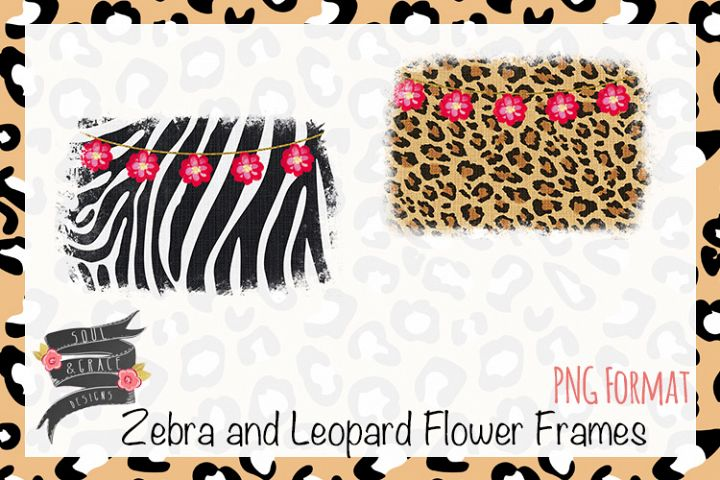 Zebra and Leopard Flower Frames
