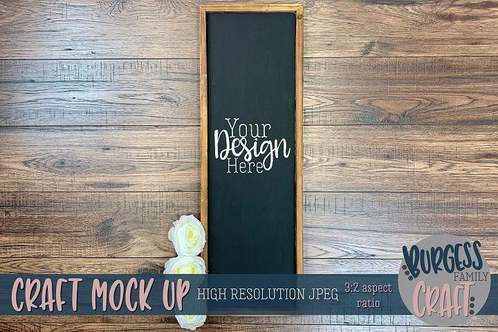 Vertical framed sign Craft mock up |High Res JPEG
