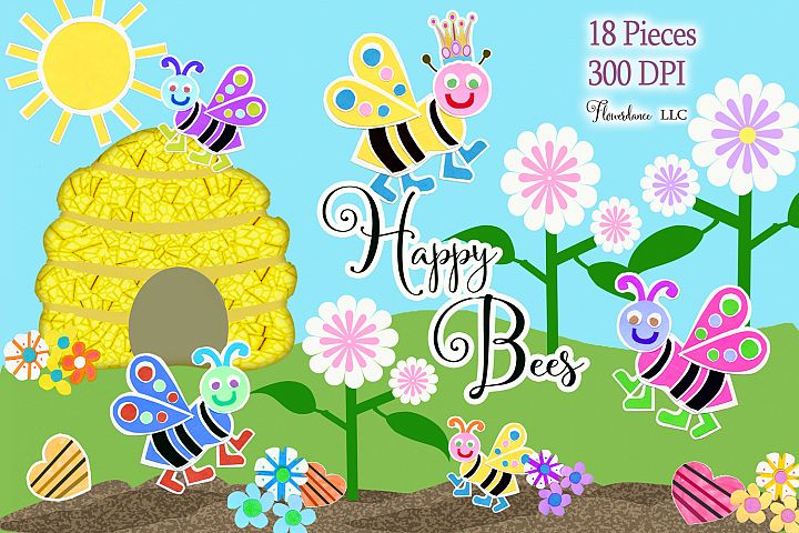 Watercolor Bees Clipart, Cute Bees, Beehive, Bugs, PNG