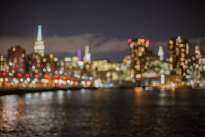 Blurred view of midtown Manhattan at night