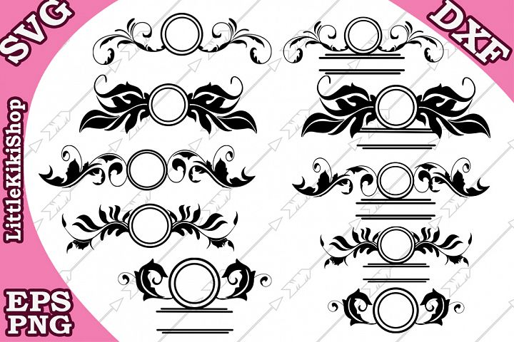 Flourish Monogram Svg, Flourish Frame Svg, Swirl Border Svg
