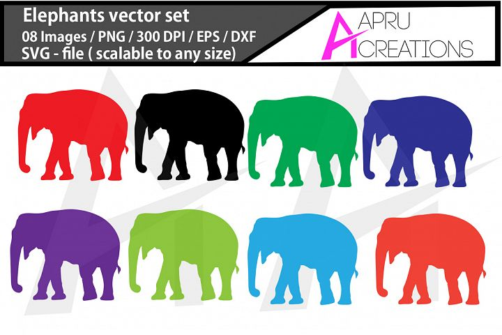 Elephants vectors, elephants silhouette, elephant clipart, elephant color images - SVG, EPS, DXF, PNG