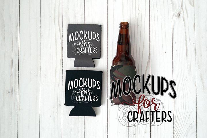 MOCK-UP, Neoprene bottle/can covers, black, grey, camo