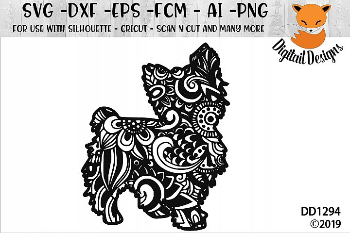 Zentangle Doodle Standing Yorkie Yorkshire Terrier SVG