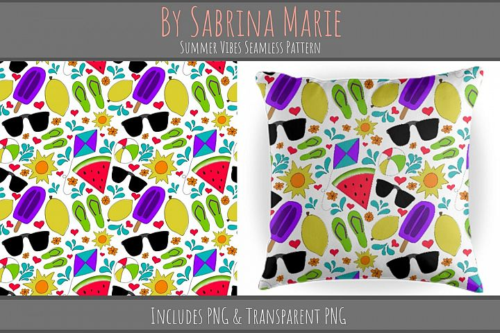 Summer Vibes Seamless Pattern | Summertime Repeating Pattern