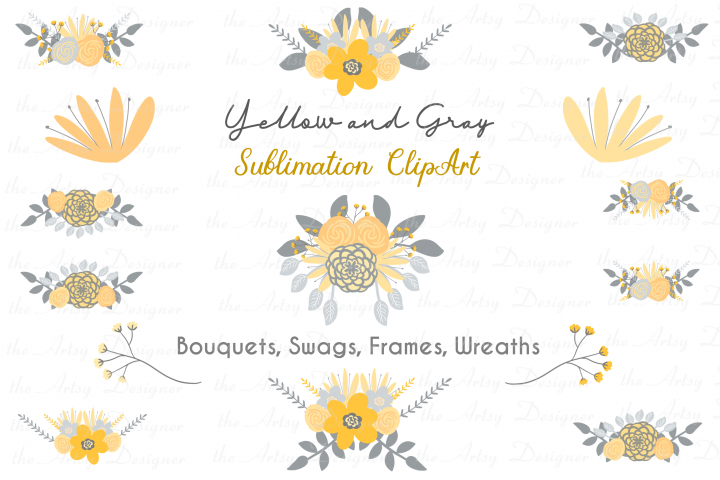 Yellow and Gray Flowers Botanical Sublimation Clipart Bundle
