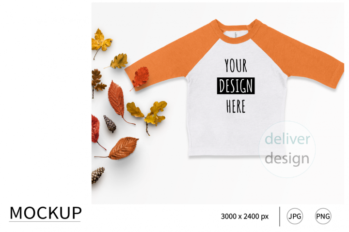 Orange.Raglan.Shirt. Mockup. Autumn. Fall. Flat Lay