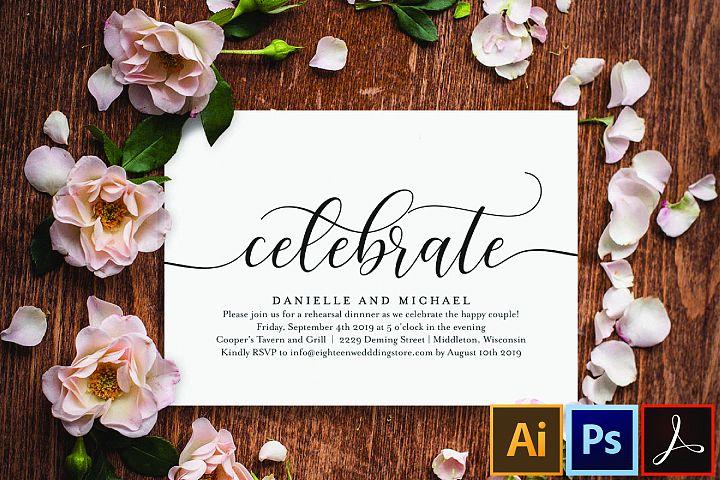 Celebrate Party Invitation, Wedding Rehearsal Invitation