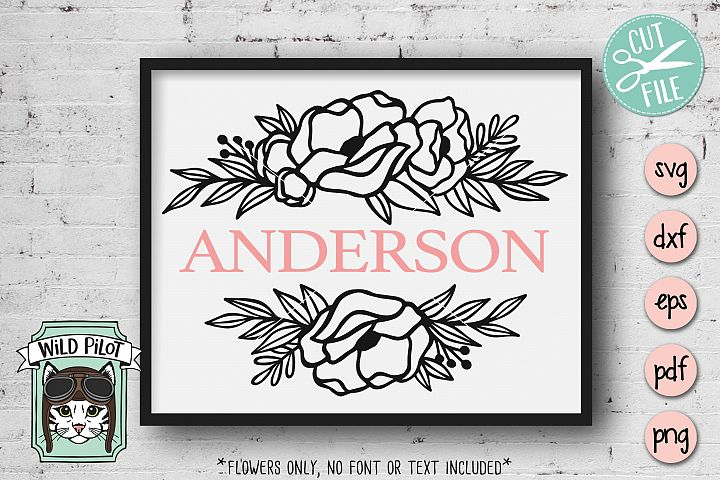 Flower Border SVG file, Split Monogram, Floral Border