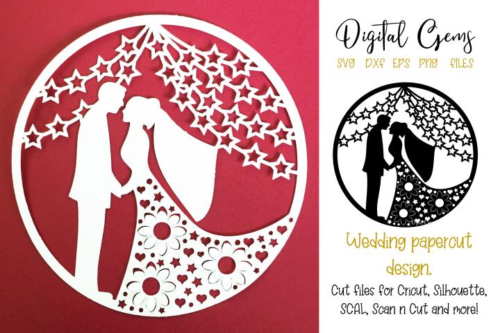 Wedding paper cut design. SVG / PNG / DXF / EPS files