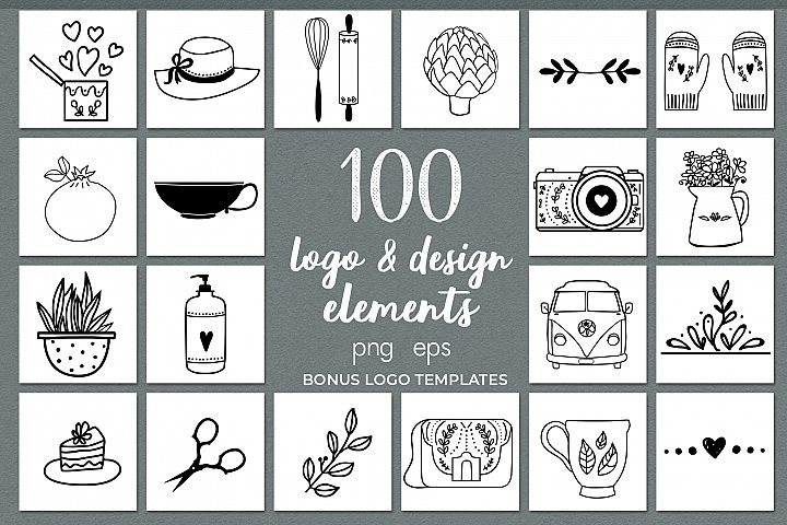 100 logo & design elements