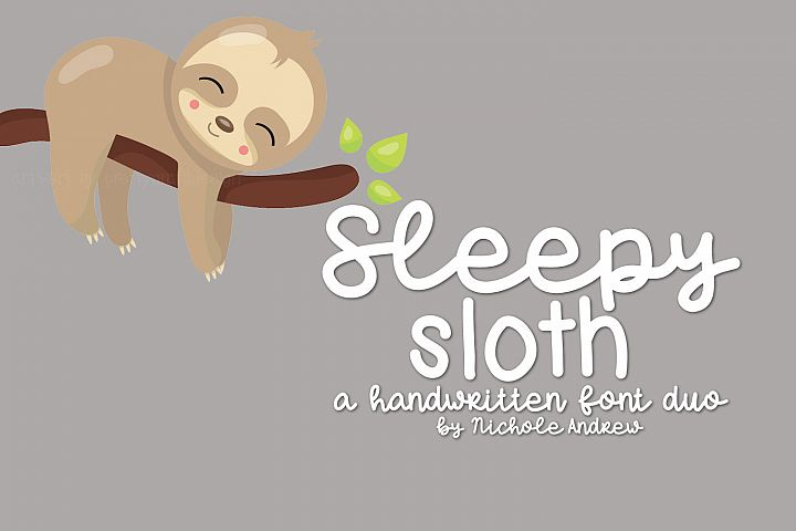 Sleepy Sloth, Handwritten Font Duo