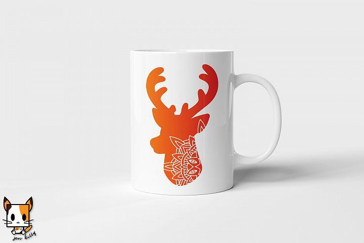 Deer Mandala - Zentangle SVG PNG DXF Cut Files