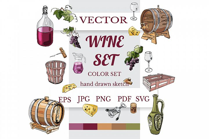 Wine product color clipart . Hand drawn sketch of wine items