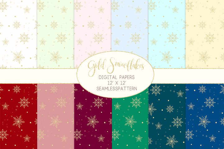 Gold Snowflakes Digital Papers Seamless Patterns