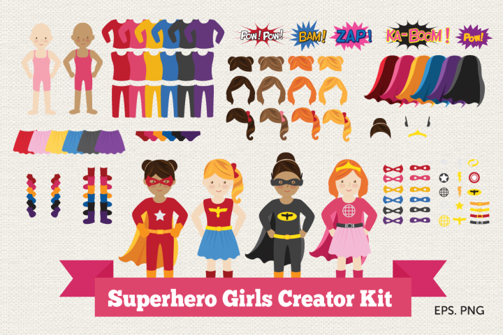 Superhero Girl Creator Kit Clipart