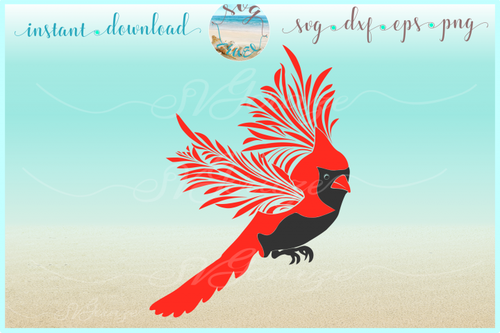 Cardinal Flying SVG DXF EPS PNG files for Cricut Sihouette