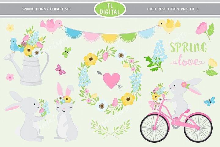 Spring Bunny Clipart Set