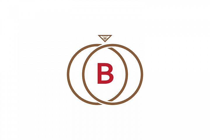 b letter ring diamond logo