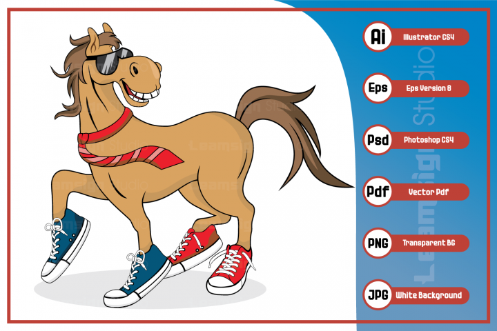Horse cartoon character wearing tie sunglass and shoes