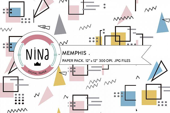 Memphis Digital Paper Pack, geometric backgrounds, memphis