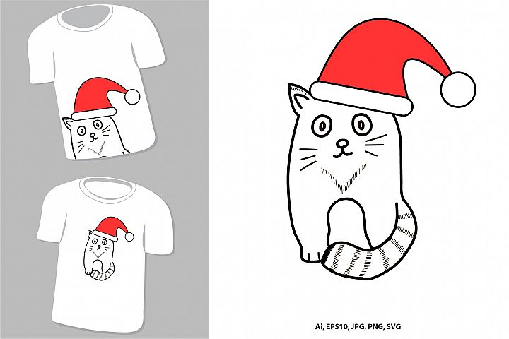 Cute cat. New Year and Christmas animal.