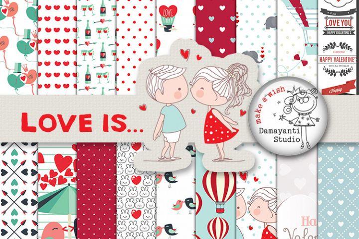 Love is... digital scrapbook papers