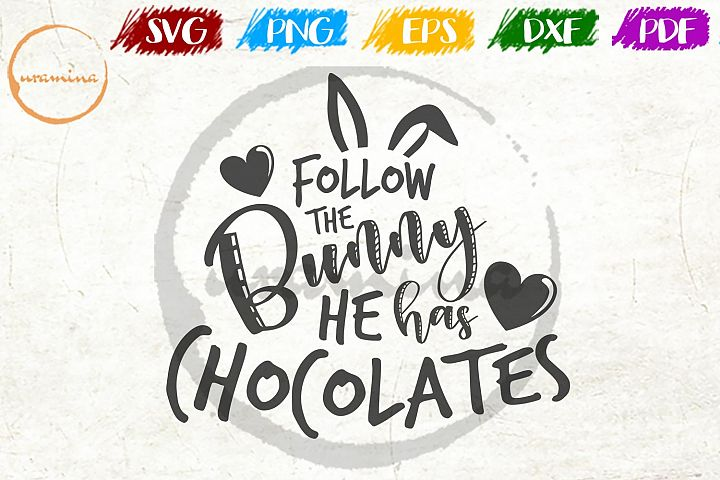 Follow The Bunny Easter SVG DXF PDF PNG