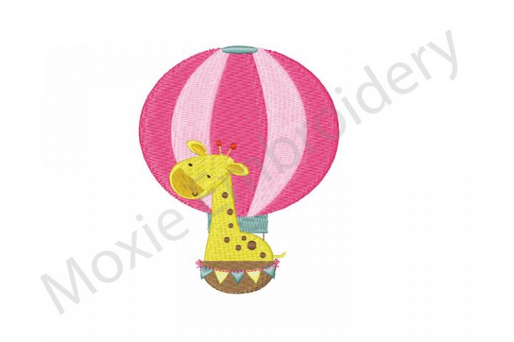Giraffe Embroidery Design, Hot Air Balloon Giraffe Design