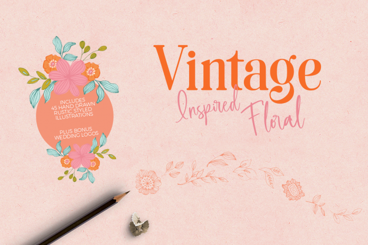 Hand Drawn Vintage Floral