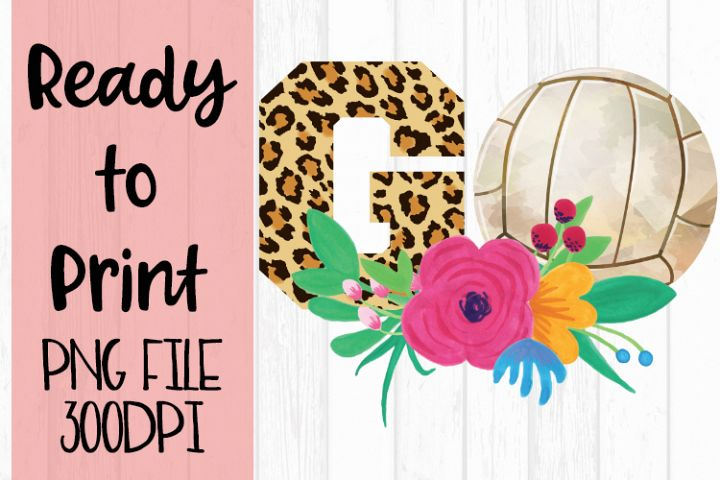 Volleyball Go Leopard Ready to Print