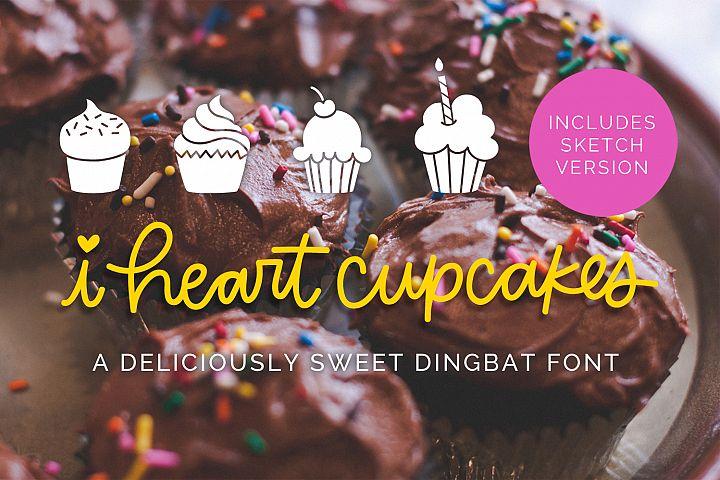 I Heart Cupcakes Dingbat Font