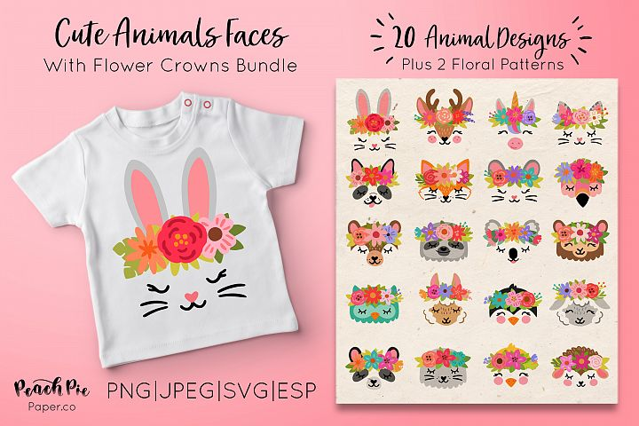 Cute Animal Faces with Flower Crowns