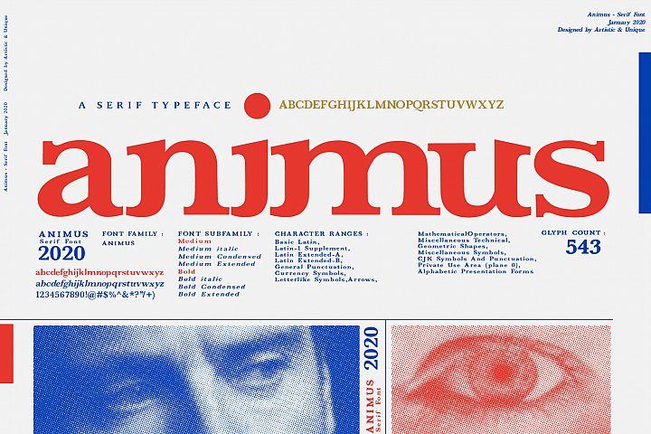 ANIMUS - Serif font family