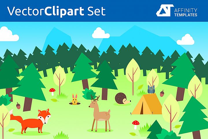 Forest Clip Arts for kindergarten Vector SVG